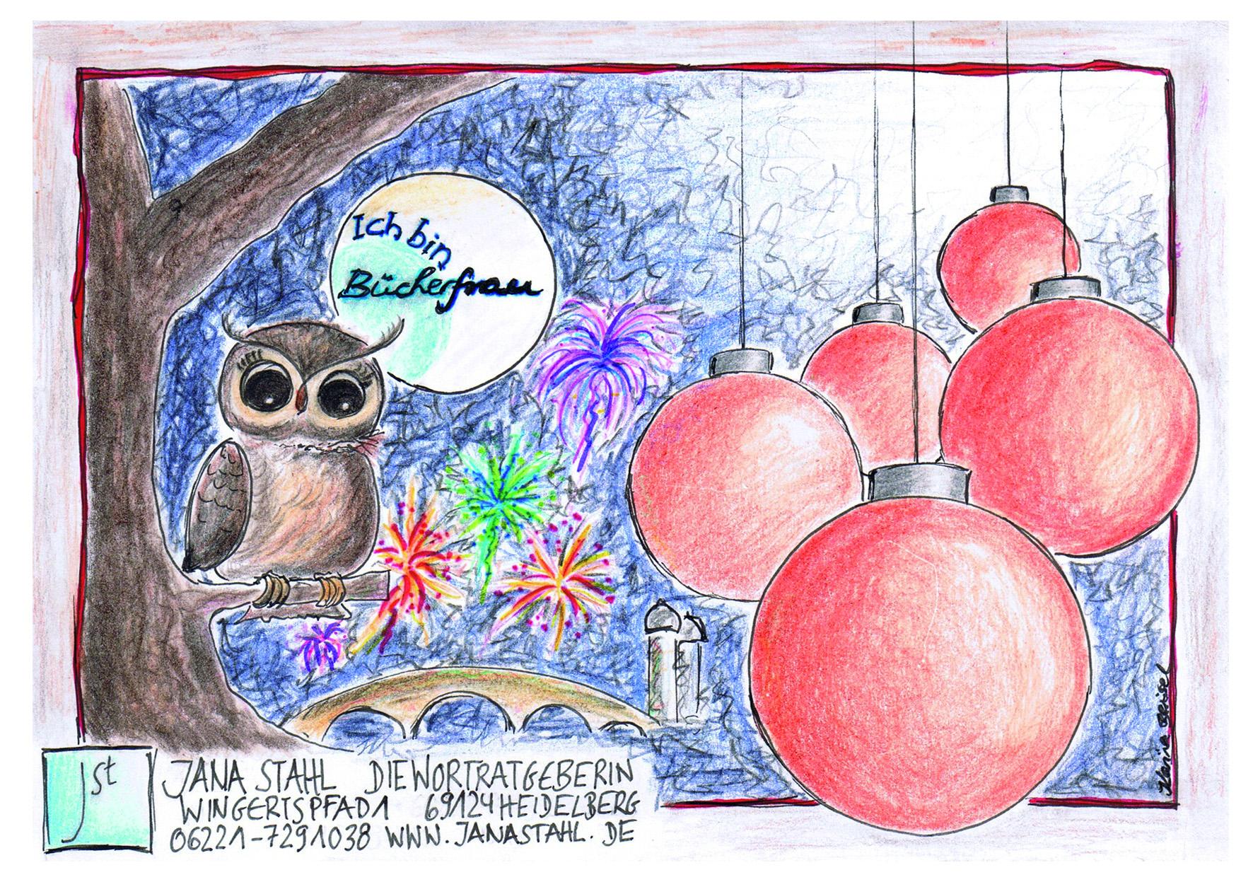 Die Weihnachtskarte 2015 zeigt eine Eule, Weihnachtsbaumkugeln sowie die Heidelberger Alte Brücke, gezeichnet von Karina Beisel