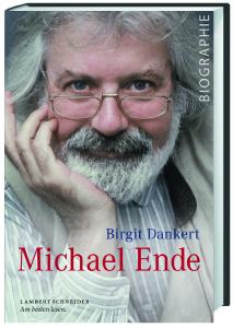 Das Bild zeigt das Buchcover der Michael Ende-Biografie von der Wissenschaftlichen Buchgesellschaft, zu sehen ist Michael Ende.