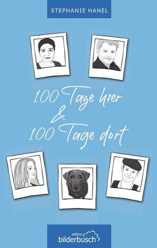 Das Cover zeigt auf blauem Hintergrund in Form von weißen Vignetten die Familie, um die es geht: Mutter (=Autorin), Vater, Tochter, Sohn und Hund