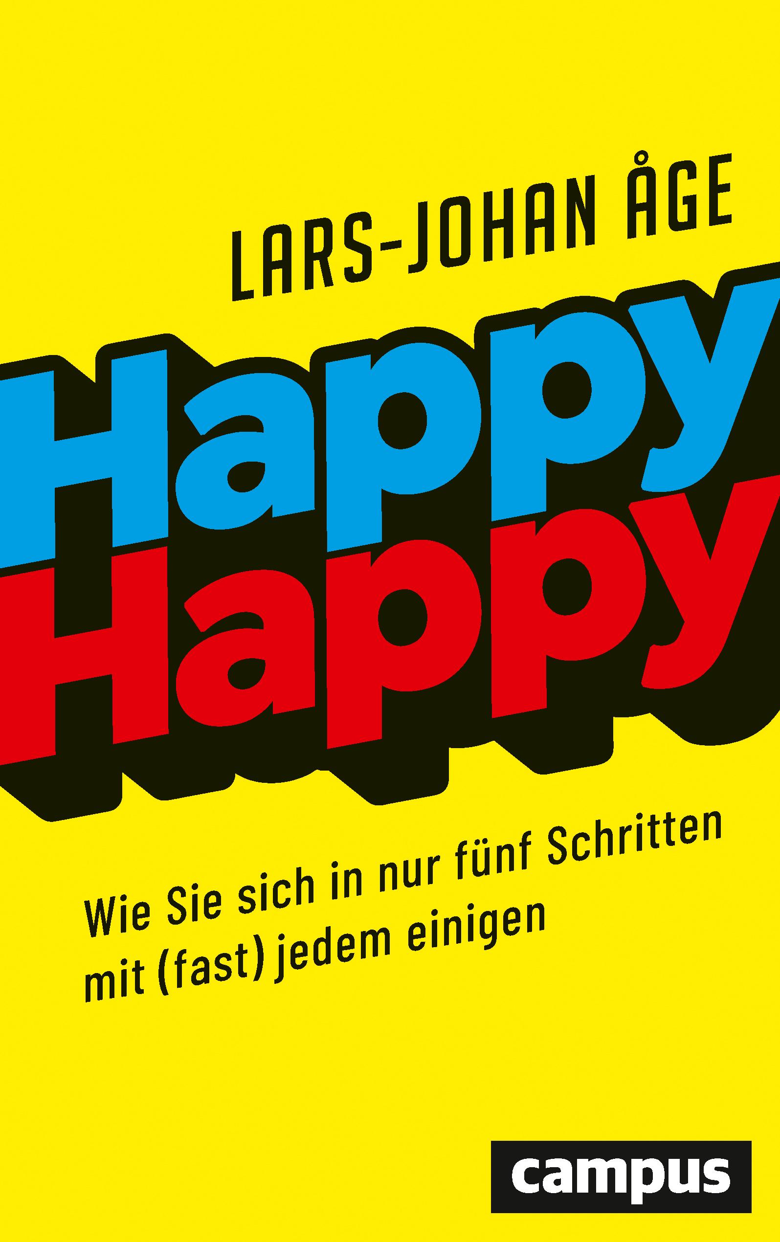 Das ist das Buchcover von Happy-happy, blau-rote Schrift auf gelbem Hintergrund. Autor: Lars-Johan Age.