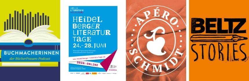 Vier Podcast-Logos werden gezeigt: Buchmacherinnen, Heidelberger Literaturtage, Apér0 Schmidt und Beltz Stories